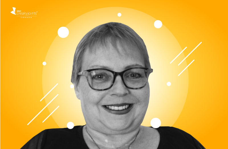 A black and white photo of Lene Andersen, an arthritis patient, sits atop a bright yellow background.