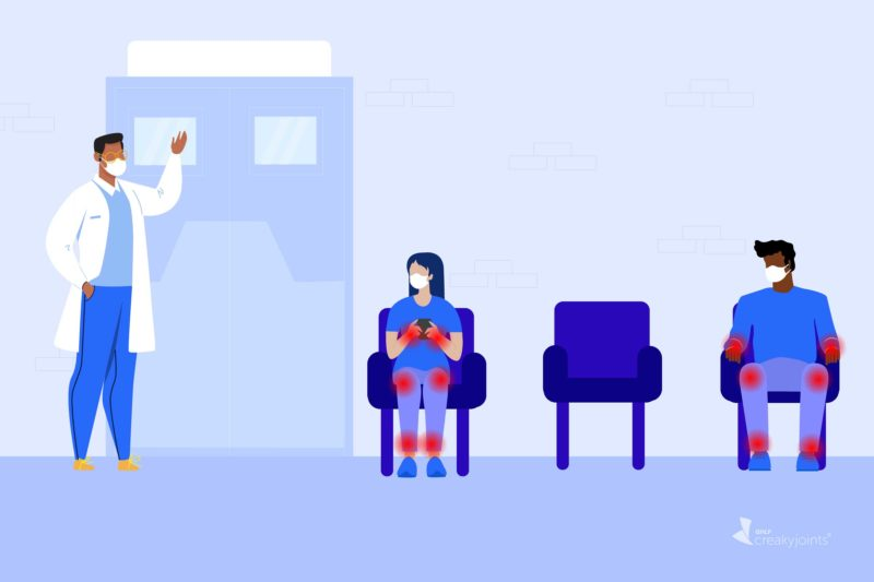 An illustration of two people with RA, as evident by red pain spots on their arms and legs, waiting in a doctor's office. They are wearing masks and sitting six feet apart.