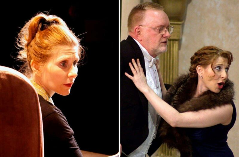 Two photos. On the left if a photo of a woman, Julia Chayko, performing in a play. On the right, a photo of a woman, Julia Chayko, and a man performing in a play.