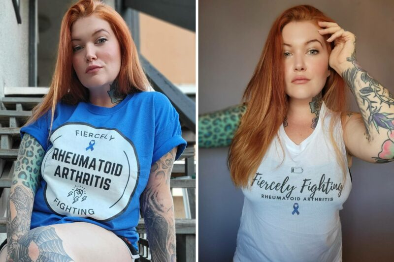 """Two photos of a woman, Eileen Davidson, modeling the """"Fiercely Fighting Rheumatoid Arthritis"""" t-shirts, which will be available for purchase following the Tumbler and Tipsy by Michael Kuluva 2022 Collection event, airing on Tuesday, September 14, 20201 at 8 p.m. ET via YouTube. On the left, Eileen is wearing a blue shirt with a white circle outlined in black. Within the white circle are the words """"Fiercely."""" Beneath that is a blue ribbon to symbolize arthritis awareness. Below the ribbon are the words """"Rheumatoid Arthritis."""" Below those words are an image of a hand in a fist with lightning bolts. Below the hand is the worth """"Fighting. On the right, Eileen is wearing a white shirt with an image of a dying battery on top. Beneath the image are the words """"Fiercely Fighting Rheumatoid Arthritis."""" Below that is a blue ribbon to symbolize arthritis awareness."""