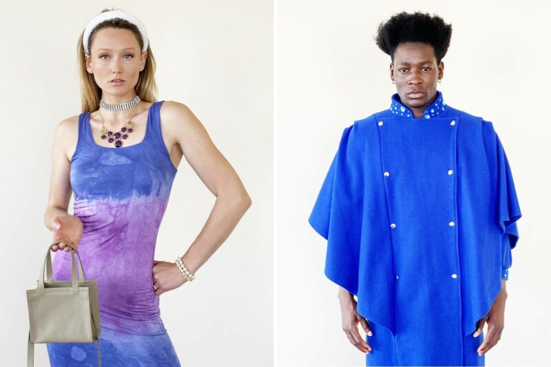 Two photos of models showcasing the designs from Michael Keluva's Tumbler and Tipsy by Michael Kuluva 2022 Collection. On the left is a woman wearing a tight fitted dress that is dyed purple and blue. On the right is a man wearing a blue cape-like coat.